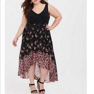 Torrid Black Floral Hi Low Dress SIZE 6